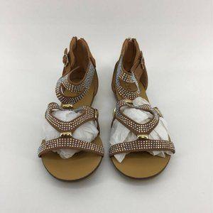 Link Girls Gladiator Sandals Brown Open Toe